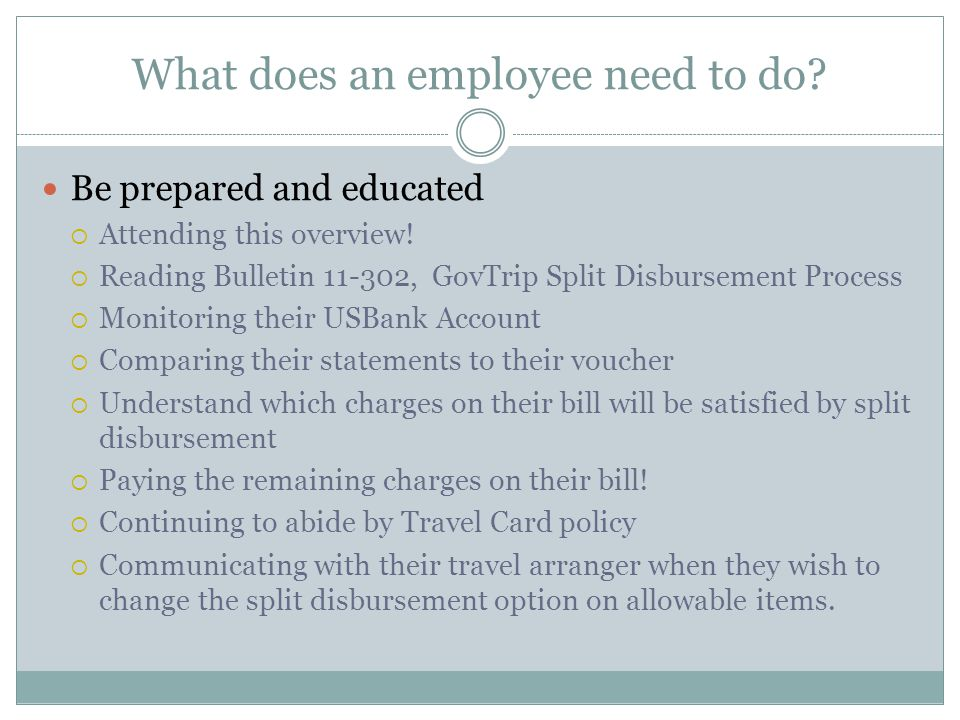 What does an employee need to do. Be prepared and educated Attending this overview.