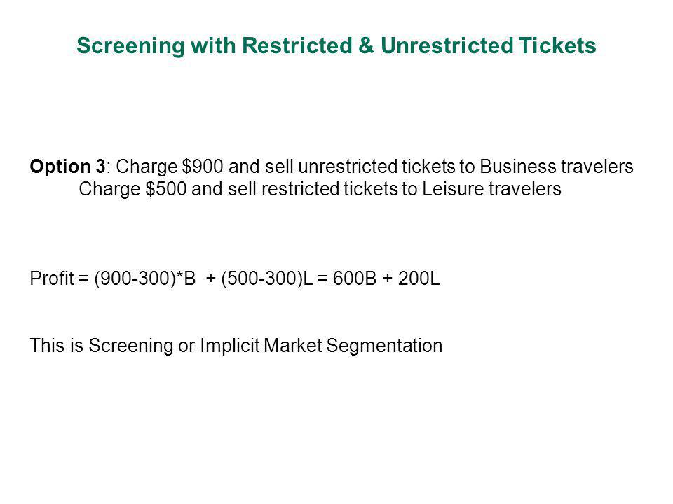 Screening with Restricted & Unrestricted Tickets Option 3: Charge $900 and sell unrestricted tickets to Business travelers Charge $500 and sell restricted tickets to Leisure travelers Profit = (900-300)*B + (500-300)L = 600B + 200L This is Screening or Implicit Market Segmentation