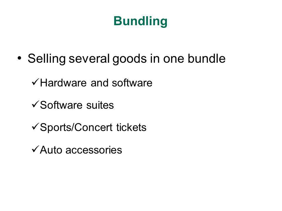Selling several goods in one bundle Hardware and software Software suites Sports/Concert tickets Auto accessories Bundling