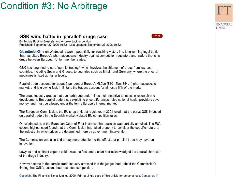Condition #3: No Arbitrage