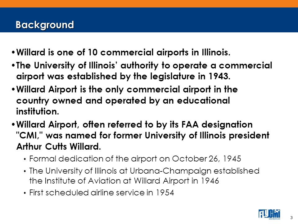 Background Willard is one of 10 commercial airports in Illinois.
