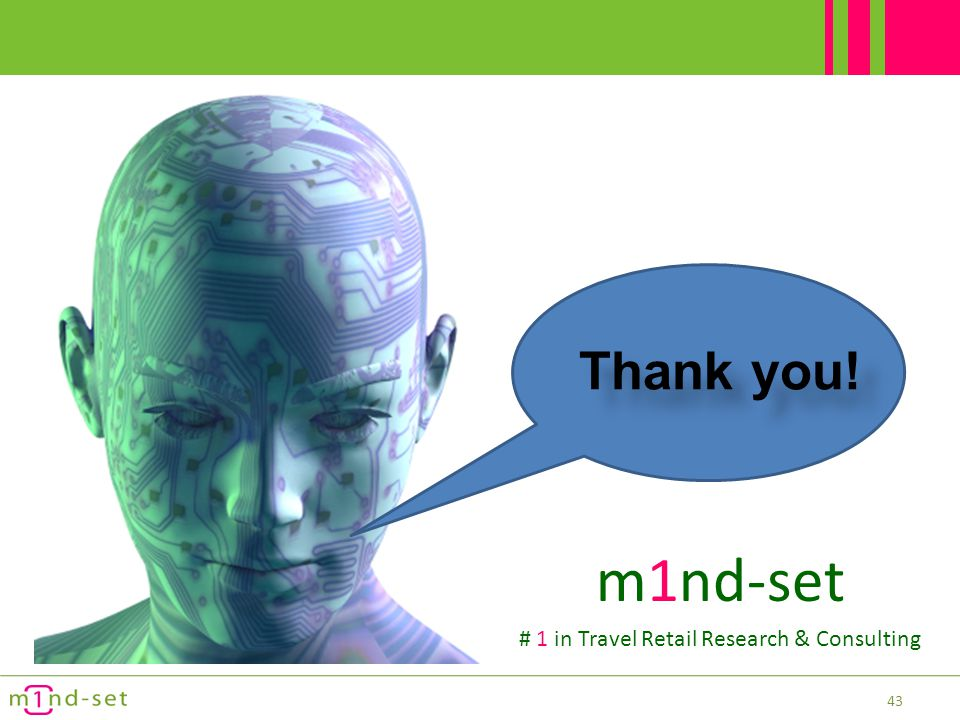 43 Thank you! m1nd-set # 1 in Travel Retail Research & Consulting