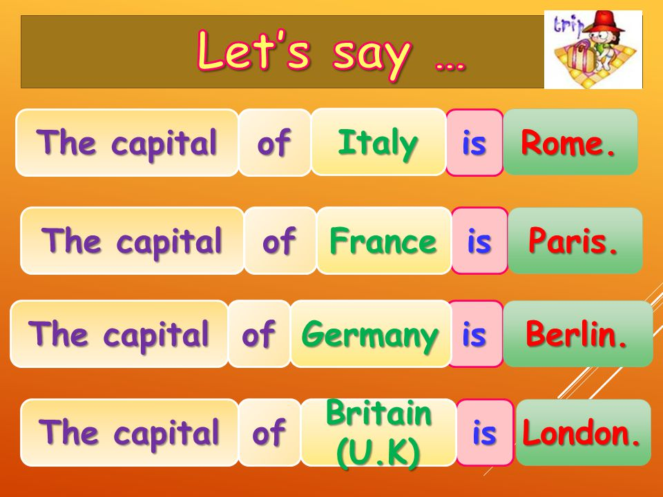 The capital ofis Italy Rome. ofisFrance Paris. is ofGermany Berlin. is ofBritain(U.K) London.