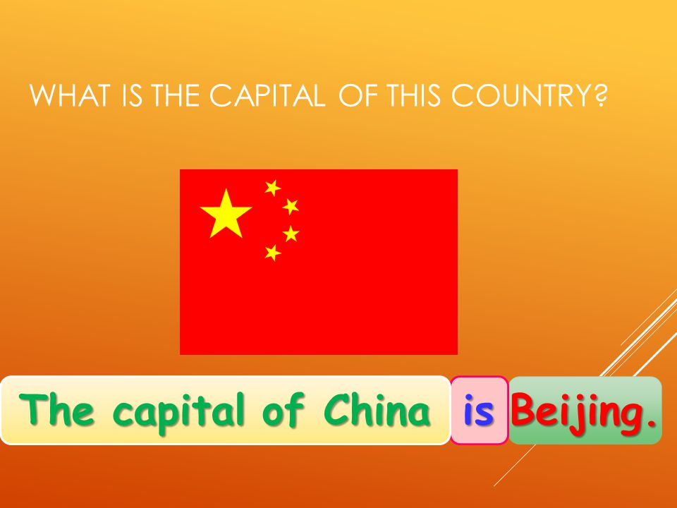 WHAT IS THE CAPITAL OF THIS COUNTRY Beijing. is The capital of China