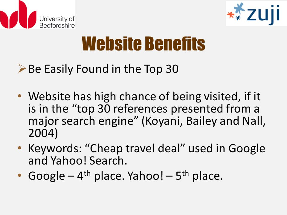 Be Easily Found in the Top 30 Website has high chance of being visited, if it is in the top 30 references presented from a major search engine (Koyani, Bailey and Nall, 2004) Keywords: Cheap travel deal used in Google and Yahoo.