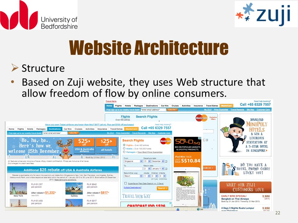 Website Architecture 22 Structure Based on Zuji website, they uses Web structure that allow freedom of flow by online consumers.