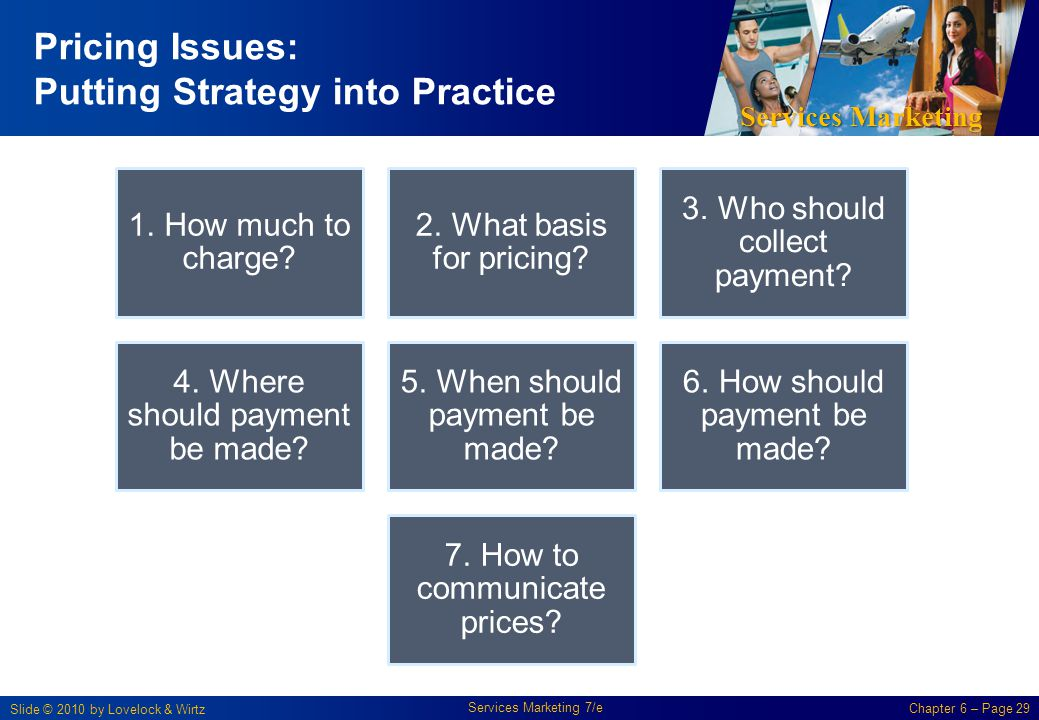 Services Marketing Slide © 2010 by Lovelock & Wirtz Services Marketing 7/e Chapter 6 – Page 29 Pricing Issues: Putting Strategy into Practice 1. How m