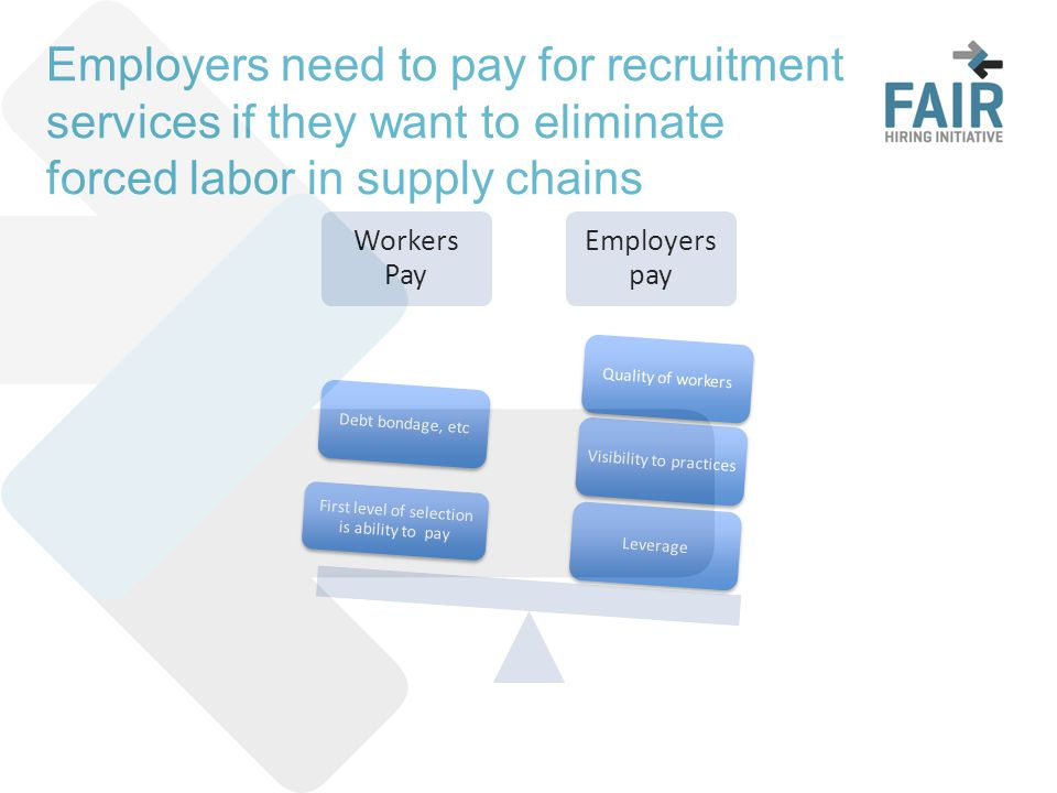 Employers need to pay for recruitment services if they want to eliminate forced labor in supply chains Workers Pay Employers pay LeverageVisibility to practicesQuality of workers First level of selection is ability to pay Debt bondage, etc