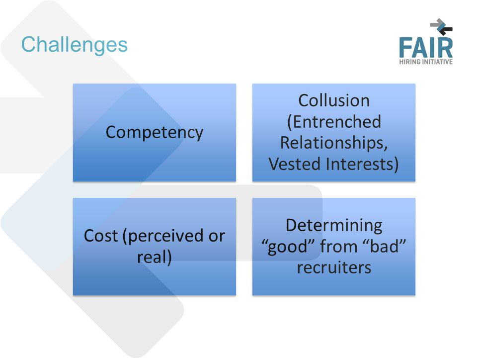 Challenges Competency Collusion (Entrenched Relationships, Vested Interests) Cost (perceived or real) Determining good from bad recruiters