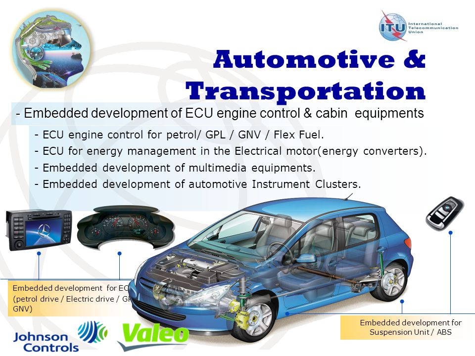 Embedded development for ECU (petrol drive / Electric drive / GPL / GNV) - Embedded development of ECU engine control & cabin equipments Automotive & Transportation Embedded development for Suspension Unit / ABS - ECU engine control for petrol/ GPL / GNV / Flex Fuel.