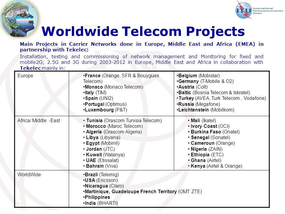 Worldwide Telecom Projects Main Projects in Carrier Networks done in Europe, Middle East and Africa (EMEA) in partnership with Tekelec: Installation, testing and commissioning of network management and Monitoring for fixed and mobile2G; 2.5G and 3G during 2003-2012 in Europe, Middle East and Africa in collaboration with Tekelec mainly in: EuropeFrance (Orange, SFR & Bouygues Telecom) Monaco (Monaco Telecom) Italy (TIM) Spain (UNI2) Portugal (Optimus) Luxembourg (P&T) Belgium (Mobistar) Germany (T-Mobile & O2) Austria (Colt) Baltic (Bosnia Telecom & Iskratel) Turkey (AVEA, Turk Telecom, Vodafone) Russia (Megafone) Leichtenstein (Mobilkom) Africa/ Middle -East Tunisia (Orascom Tunisia Telecom) Morocco (Maroc Telecom) Algeria (Orascom Algeria) Libya (Libyana) Egypt (Mobinil) Jordan (JTC) Kuwait (Watanya) UAE (Etissalat) Bahrain (Viva) Mali (Ikatel) Ivory Coast (OCI) Burkina Faso (Onatel) Senegal (Sonatel) Cameroun (Orange) Nigeria (ZAIN) Ethiopia (ETC) Ghana (Airtel) Kenya (Airtel & Orange) WorldWideBrazil (Telemig) USA (Ericsson) Nicaragua (Claro) Martinique, Guadeloupe French Territory (OMT ZTE) Philippines India (BHARTI)