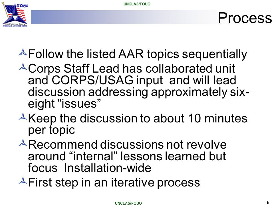 6 AAR Topics with Enumerated Categories 1.Event Summary/Current SITREP (CHOPS) 2.