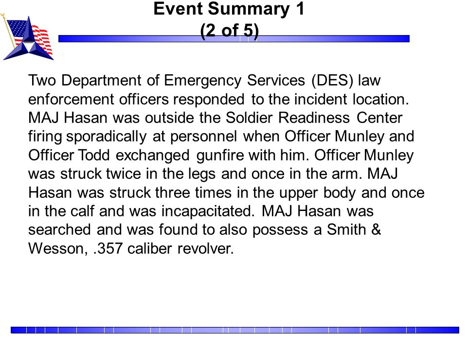 Event Summary 1 (3 of 5) There were 43 individuals injured, including twenty-one active duty, twenty reservists, one National Guard, and one civilian.