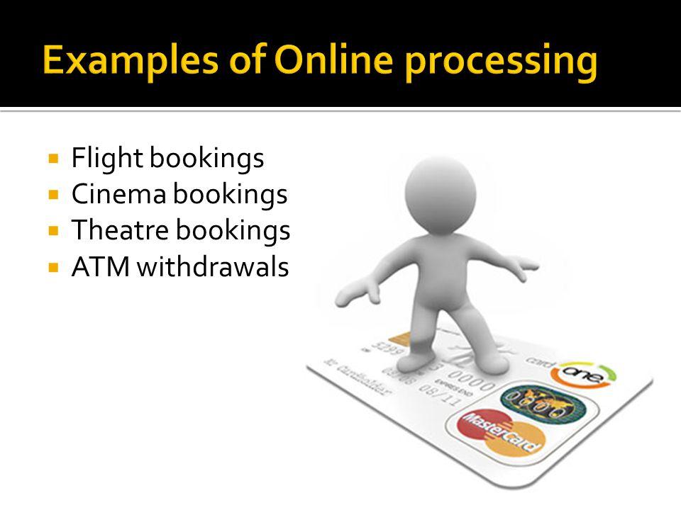 Flight bookings Cinema bookings Theatre bookings ATM withdrawals