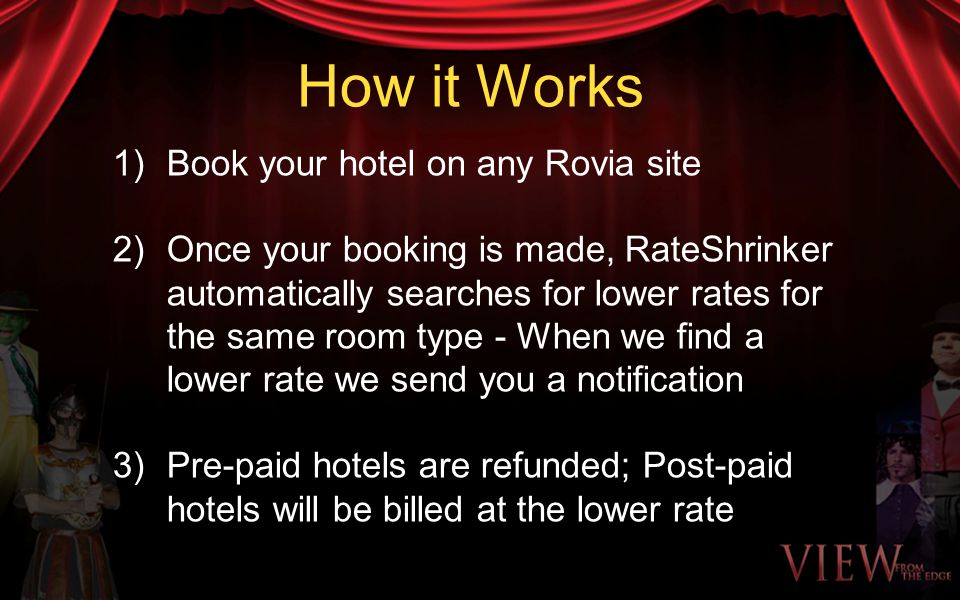 How it Works 1)Book your hotel on any Rovia site 2)Once your booking is made, RateShrinker automatically searches for lower rates for the same room ty