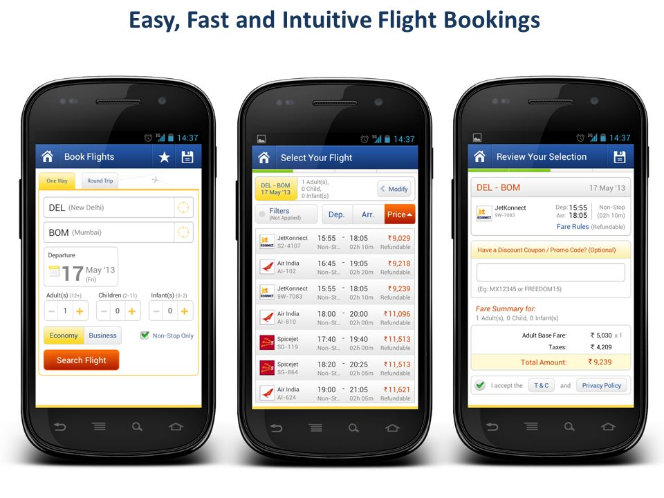 Easy, Fast and Intuitive Flight Bookings