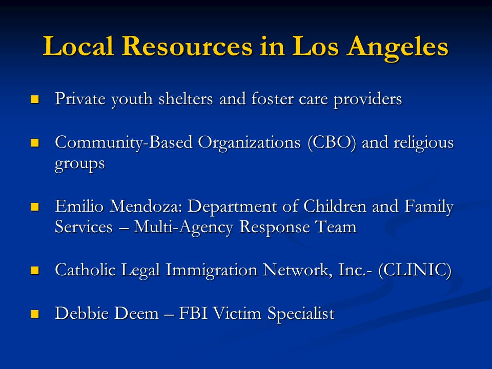 Local Resources in Los Angeles Private youth shelters and foster care providers Private youth shelters and foster care providers Community-Based Organ
