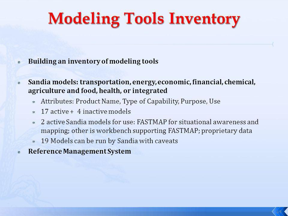 Building an inventory of modeling tools Sandia models: transportation, energy, economic, financial, chemical, agriculture and food, health, or integrated Attributes: Product Name, Type of Capability, Purpose, Use 17 active + 4 inactive models 2 active Sandia models for use: FASTMAP for situational awareness and mapping; other is workbench supporting FASTMAP; proprietary data 19 Models can be run by Sandia with caveats Reference Management System 49