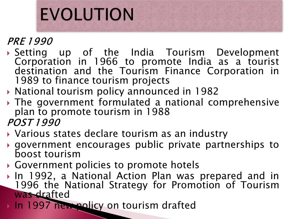 PRE 1990 Setting up of the India Tourism Development Corporation in 1966 to promote India as a tourist destination and the Tourism Finance Corporation