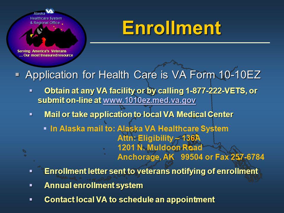 Alaska Alaska Healthcare System & Regional Office Serving Americas Veterans … Our most treasured resource … Our most treasured resource Enrollment App