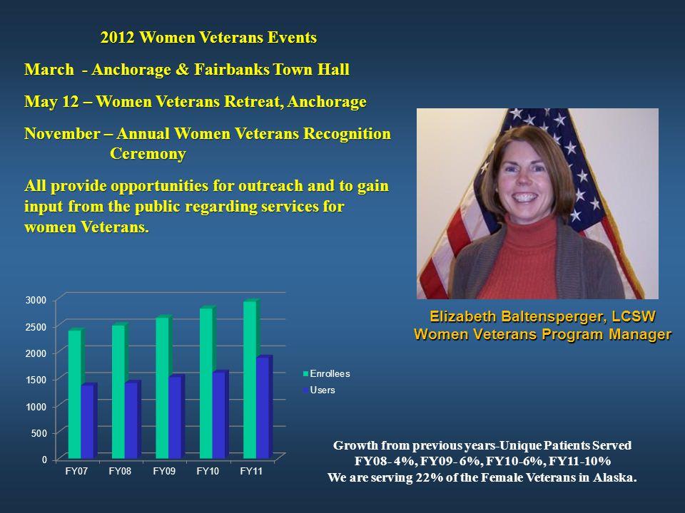 Elizabeth Baltensperger, LCSW Women Veterans Program Manager 2012 Women Veterans Events March - Anchorage & Fairbanks Town Hall May 12 – Women Veteran