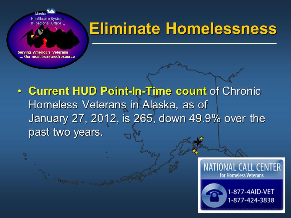 Alaska Alaska Healthcare System & Regional Office Serving Americas Veterans … Our most treasured resource … Our most treasured resource Eliminate Home
