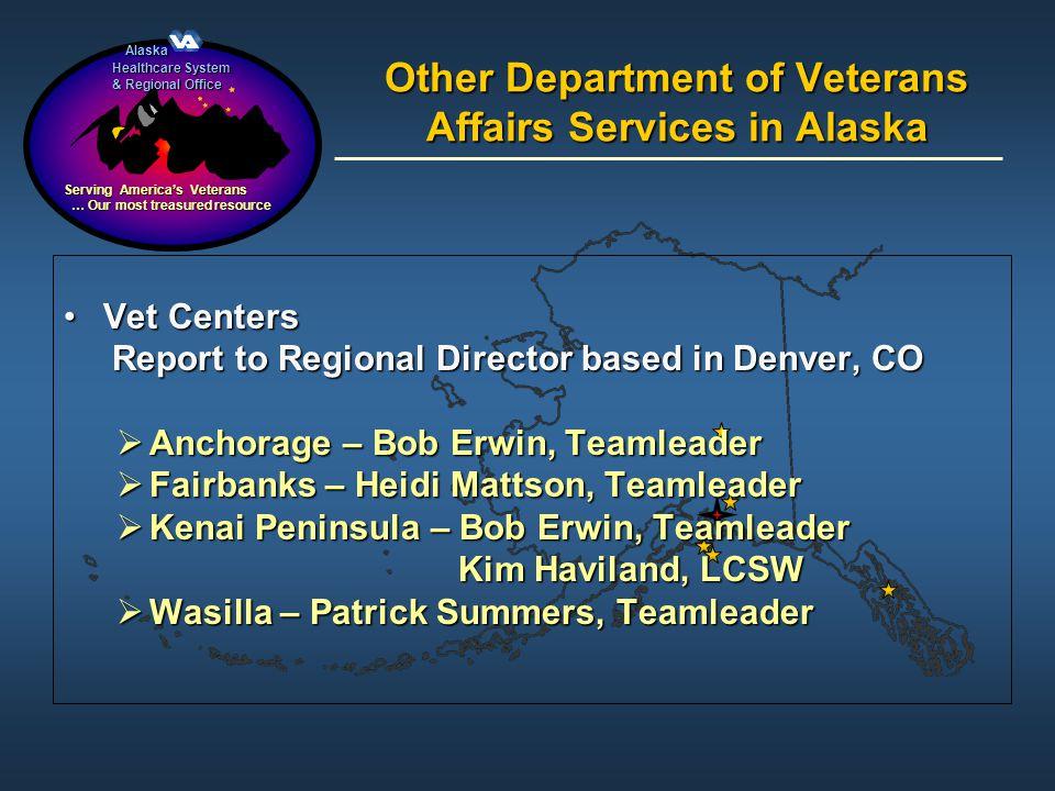 Alaska Alaska Healthcare System & Regional Office Serving Americas Veterans … Our most treasured resource … Our most treasured resource Other Departme