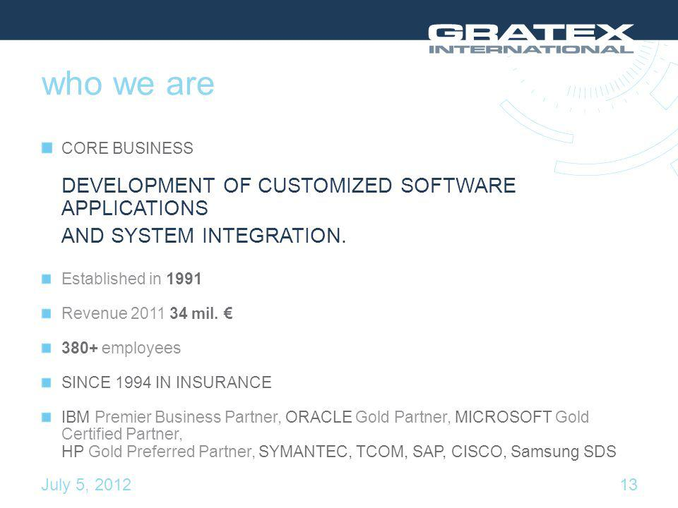 who we are CORE BUSINESS DEVELOPMENT OF CUSTOMIZED SOFTWARE APPLICATIONS AND SYSTEM INTEGRATION.