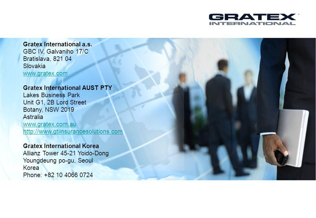 Gratex International a.s. GBC IV, Galvaniho 17/C Bratislava, 821 04 Slovakia www.gratex.com Gratex International AUST PTY Lakes Business Park Unit G1,