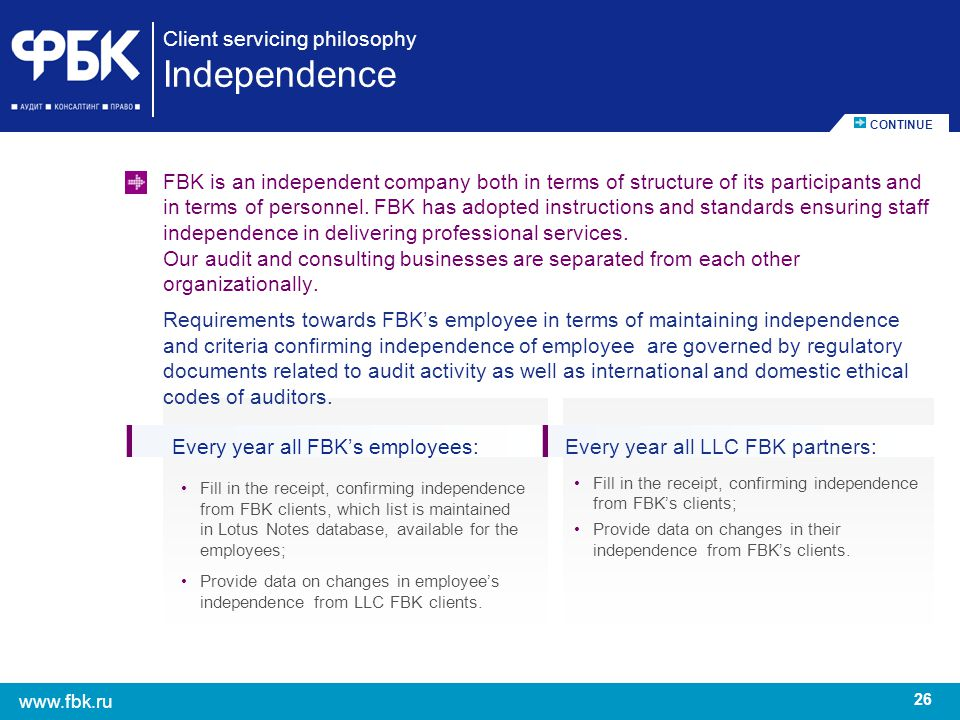 26 www.fbk.ru Client servicing philosophy Independence FBK is an independent company both in terms of structure of its participants and in terms of pe