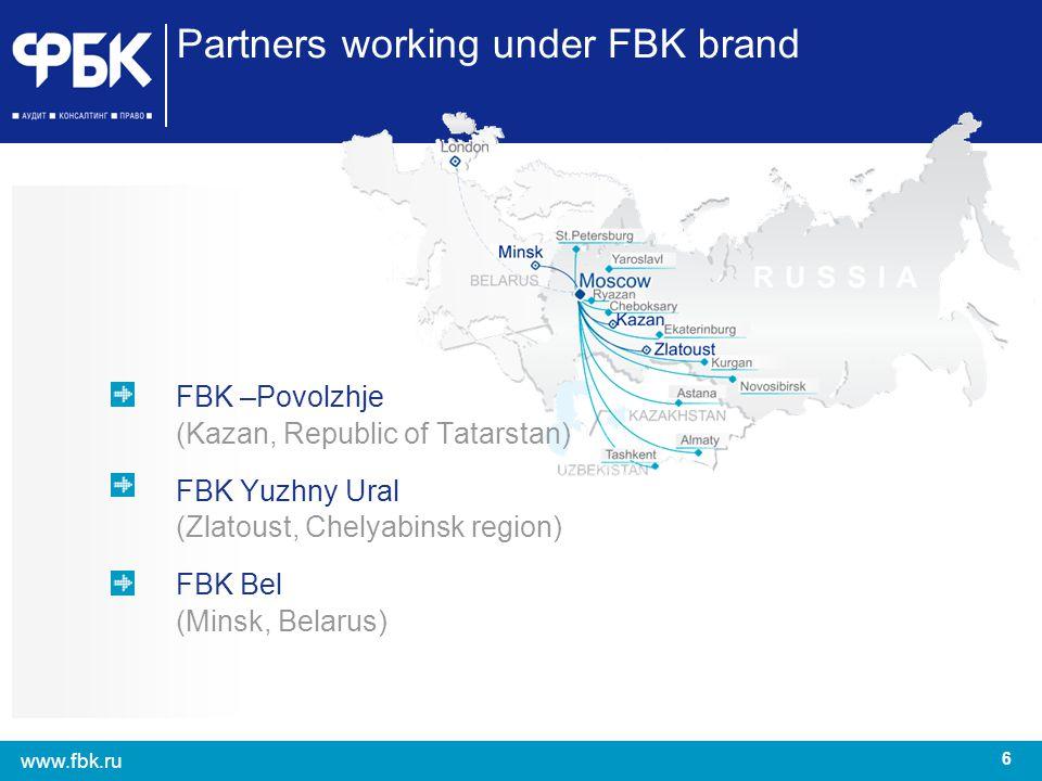 6 www.fbk.ru Partners working under FBK brand FBK –Povolzhje (Kazan, Republic of Tatarstan) FBK Yuzhny Ural (Zlatoust, Chelyabinsk region) FBK Bel (Mi