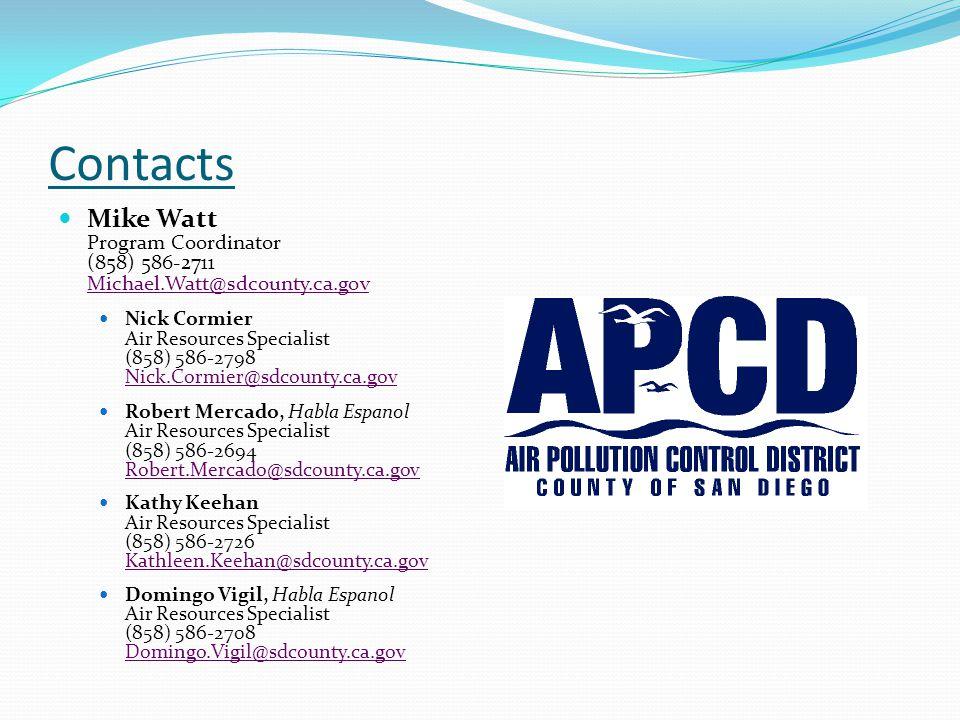 Contacts Mike Watt Program Coordinator (858) 586-2711 Michael.Watt@sdcounty.ca.gov Nick Cormier Air Resources Specialist (858) 586-2798 Nick.Cormier@s