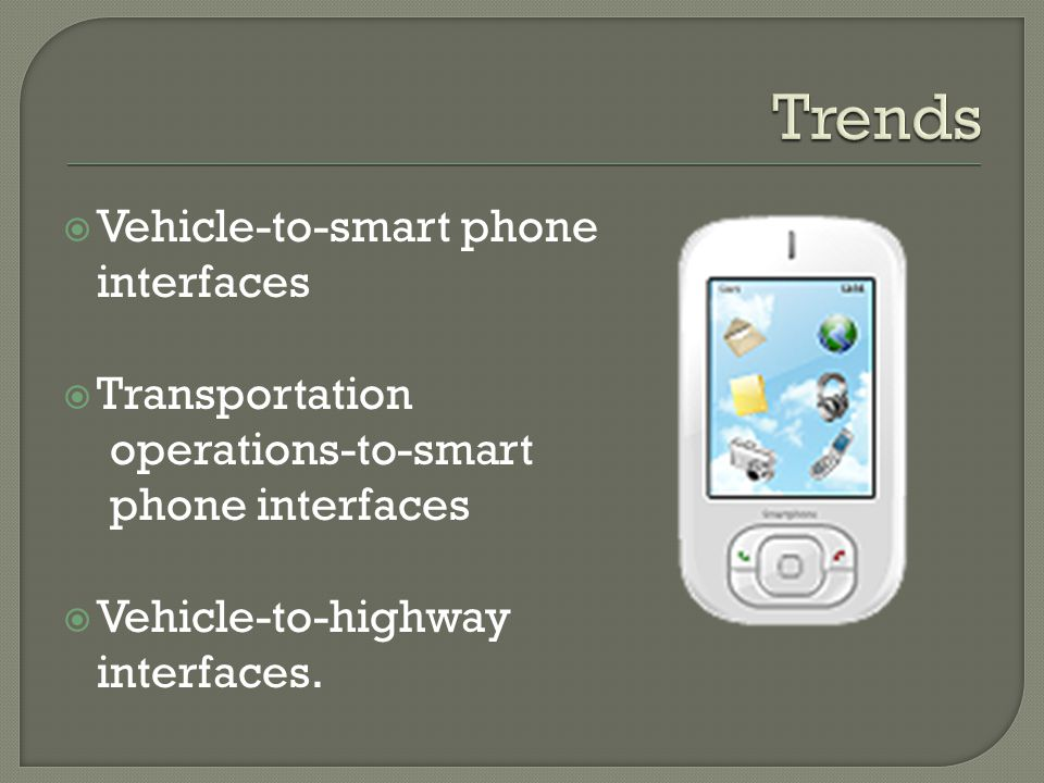 Vehicle-to-smart phone interfaces Transportation operations-to-smart phone interfaces Vehicle-to-highway interfaces.