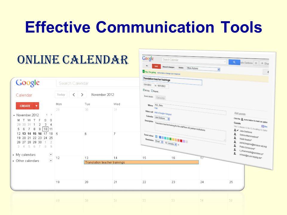 Effective Communication Tools Online Calendar