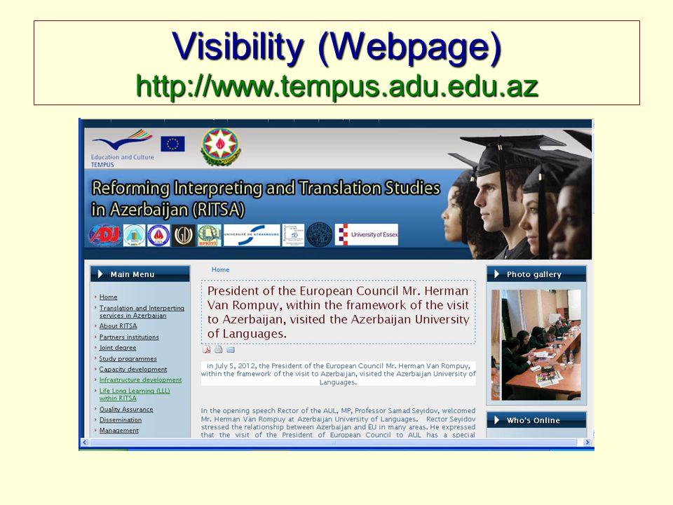 Visibility (Webpage) http://www.tempus.adu.edu.az