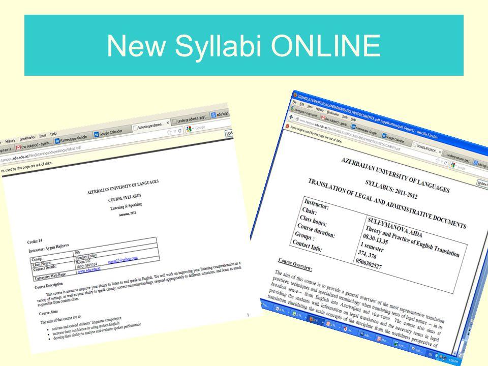 New Syllabi ONLINE