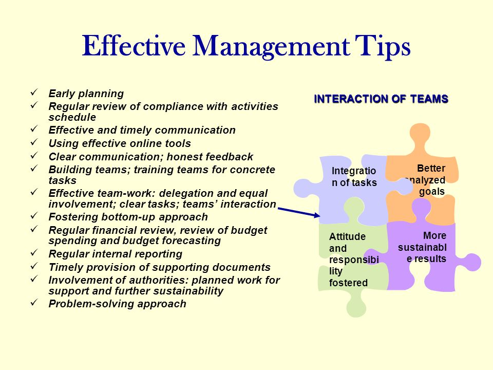 Effective Management Tips Early planning Regular review of compliance with activities schedule Effective and timely communication Using effective online tools Clear communication; honest feedback Building teams; training teams for concrete tasks Effective team-work: delegation and equal involvement; clear tasks; teams interaction Fostering bottom-up approach Regular financial review, review of budget spending and budget forecasting Regular internal reporting Timely provision of supporting documents Involvement of authorities: planned work for support and further sustainability Problem-solving approach INTERACTION OF TEAMS Better analyzed goals More sustainabl e results Attitude and responsibi lity fostered Integratio n of tasks