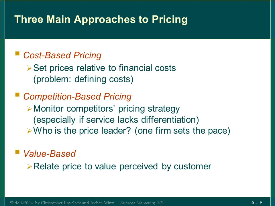 Slide ©2004 by Christopher Lovelock and Jochen Wirtz Services Marketing 5/E 6 - 5 Three Main Approaches to Pricing Cost-Based Pricing Set prices relat
