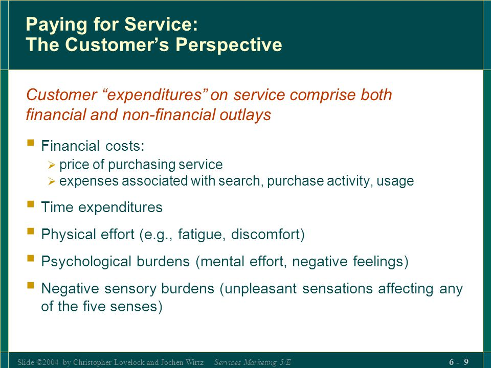 Slide ©2004 by Christopher Lovelock and Jochen Wirtz Services Marketing 5/E 6 - 9 Paying for Service: The Customers Perspective Customer expenditures