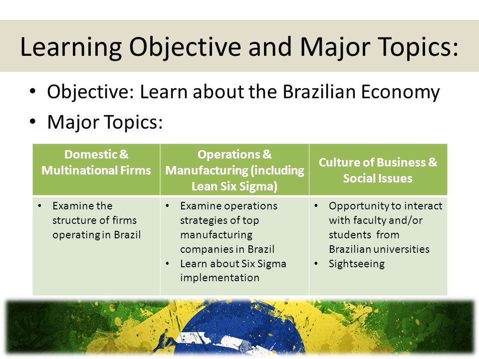 Learning Objective and Major Topics: Objective: Learn about the Brazilian Economy Major Topics: Domestic & Multinational Firms Operations & Manufacturing (including Lean Six Sigma) Culture of Business & Social Issues Examine the structure of firms operating in Brazil Examine operations strategies of top manufacturing companies in Brazil Learn about Six Sigma implementation Opportunity to interact with faculty and/or students from Brazilian universities Sightseeing