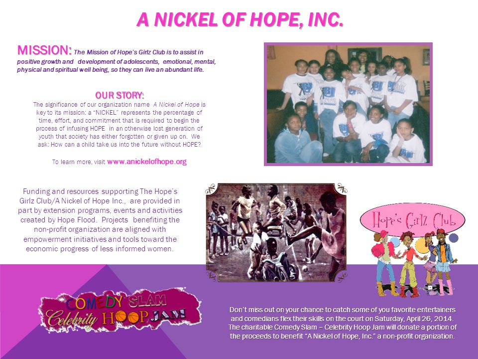 A NICKEL OF HOPE, INC.