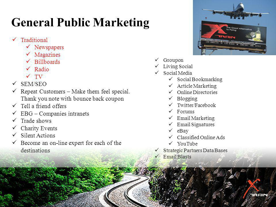 General Public Marketing Groupon Living Social Social Media Social Bookmarking Article Marketing Online Directories Blogging Twitter/Facebook Forums Email Marketing Email Signatures eBay Classified Online Ads YouTube Strategic Partners Data Bases Email Blasts Traditional Newspapers Magazines Billboards Radio TV SEM/SEO Repeat Customers – Make them feel special.