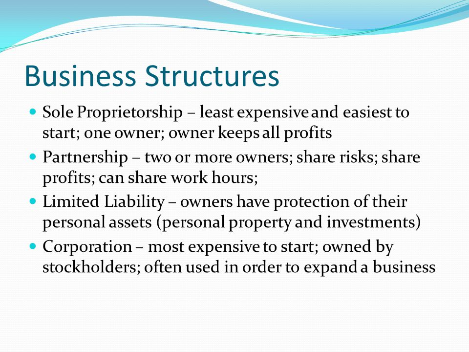 Business Structures Sole Proprietorship – least expensive and easiest to start; one owner; owner keeps all profits Partnership – two or more owners; s