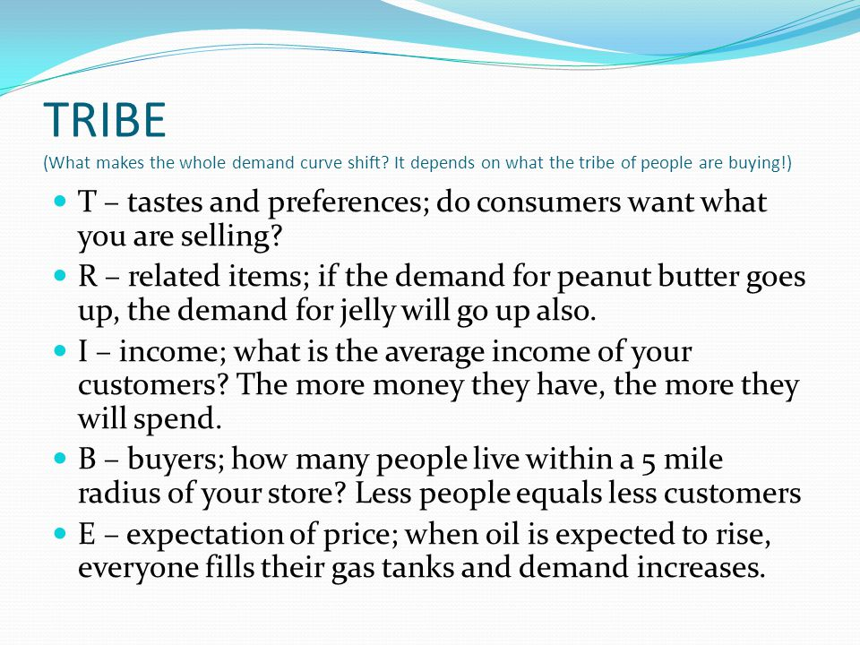 TRIBE (What makes the whole demand curve shift? It depends on what the tribe of people are buying!) T – tastes and preferences; do consumers want what