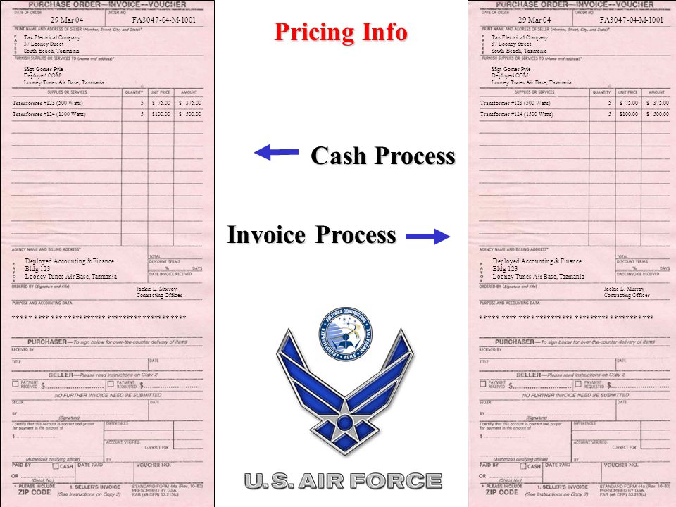 Transformer #123 (500 Watts) 5 $ 75.00 $ 375.00 Deployed Accounting & Finance Bldg 123 Looney Tunes Air Base, Tazmania Jackie L.