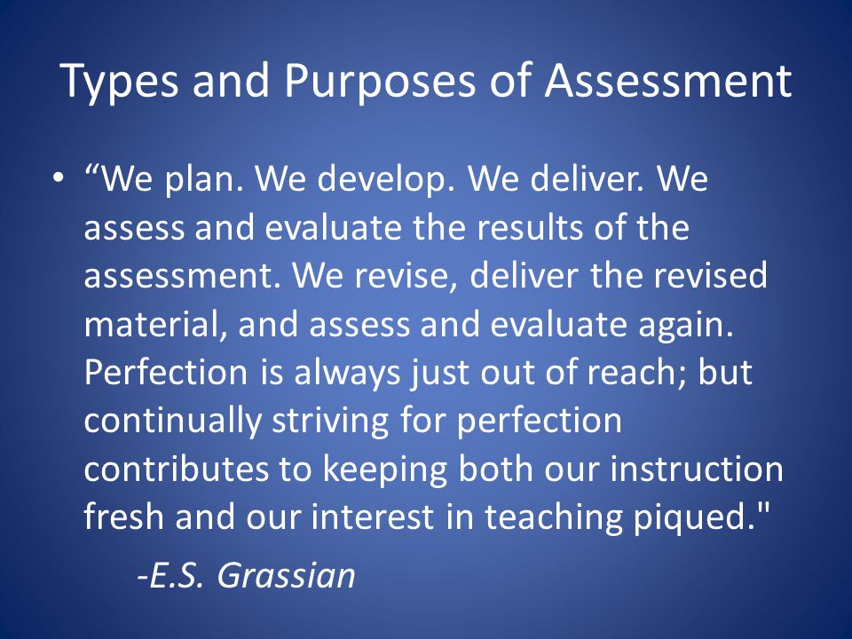 Types and Purposes of Assessment We plan. We develop.