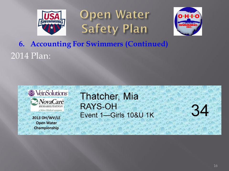 6. Accounting For Swimmers (Continued) 2014 Plan: 16
