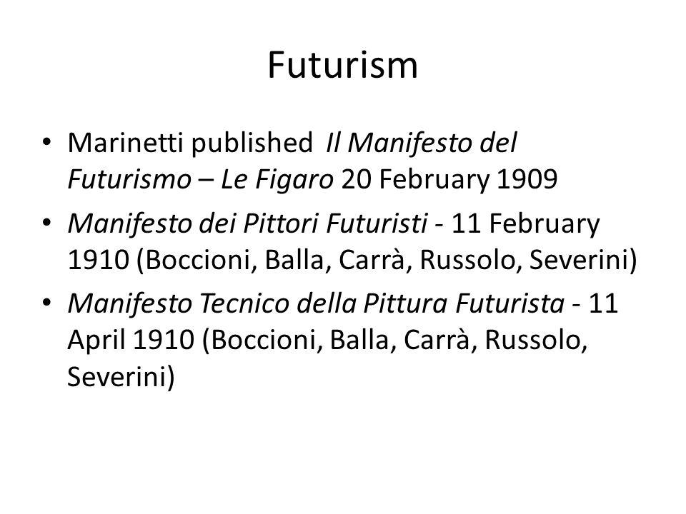 Futurism Marinetti published Il Manifesto del Futurismo – Le Figaro 20 February 1909 Manifesto dei Pittori Futuristi - 11 February 1910 (Boccioni, Bal