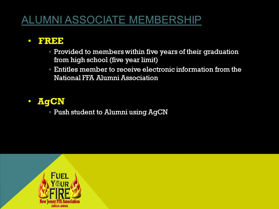 ALUMNI ASSOCIATE MEMBERSHIP FREE Provided to members within five years of their graduation from high school (five year limit) Entitles member to receive electronic information from the National FFA Alumni Association AgCN Push student to Alumni using AgCN