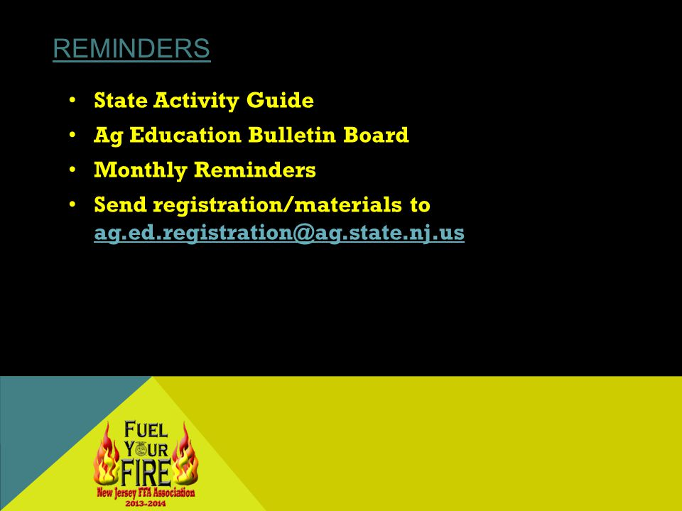 REMINDERS State Activity Guide Ag Education Bulletin Board Monthly Reminders Send registration/materials to